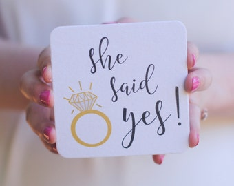 She Said Yes Paper Coasters for an Engagement Party, Bridal Shower, Couples Shower, Engagement Party Favors, Wedding Party
