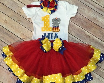 3 Pieces Circus First Birthday Outfit, Circus First Birthday Outfit, Girls First Birthday Tutu, Girls Circus Birthday Outfit