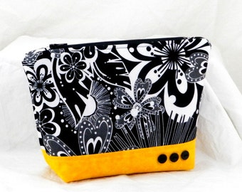 Make Up Bag, Essentials Print, Black and White, Cosmetic Bag, Clutch Purse, Yellow Accents, Pouch Bag