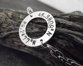 sterling silver mens coordinates bracelet, washer and chain bracelet, male sterling name bracelet