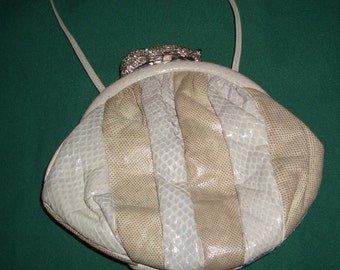 Ladies Vintage Sharif Designer Purse Handbag Clutch 1980s Haute Couture Ivory Taupe Snakeskin & Reptile Patchwork