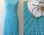 1960s French torquoise blue crochet dress