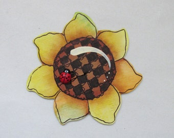 Sunflower Shaped Magnet with Lady Bug, Hand or Tole Painted, Yellow Sunflower, Red Lady Bug, Sunflower Magnet, Kitchen Magnet, Summer Magnet