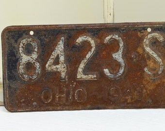 1940 Rustic Ohio License Plate - rusted auto plate - 1940's License Plate