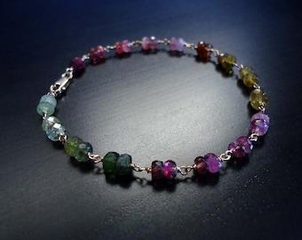 Tourmaline Bracelet, October Birthstone, Watermelon Tourmaline, Gemstone Jewelry, Tourmaline Jewelry, 14kt Gold Filled