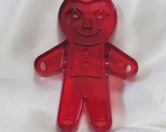 Vintage Jolly Gingerbread Boy Red Clear Plastic Cookie Cutter Patented