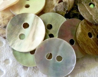 Natural Shell Buttons 10mm Round Mother of Pearl 2 Holes 10pc MOP Clothing Buttons