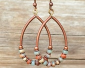 African Opal and Copper Hoop Earrings, Aqua Blue and Copper Jewelry