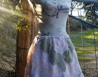feral blossom skirt, vintage lace + crochet, hippy romance, adaptable / free size