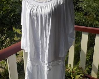 angel sleeve white tunic dress, boho, beach, mex, summer, hippy, one size, free size