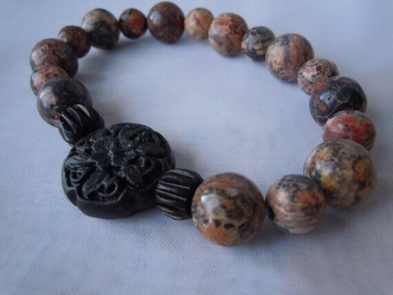 Leopard Jasper Stretch Bracelet/Black Cinnabar Bead/Black Bone Beads