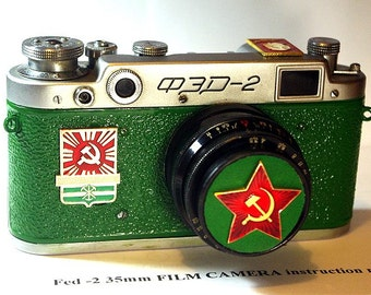 """1958 Green antique camera """"FED-2"""" from Moscow! -=LENIN=-"""