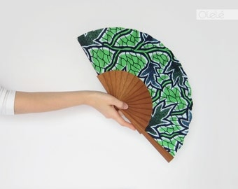 Wooden fan - Blue branches and leaves on neon green wax print - beach accessory - casual african fashion