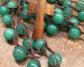 RESERVED for Kayla Green Aventurine with wooden cross pendant