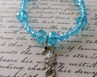 Aqua Crystal Beaded Seahorse Bracelet Anklet