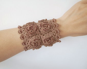 Irish Crochet Lace Jewelry (Irish Love 4-b) Fiber Art Jewelry, Wide Bracelet, Crochet Bracelet