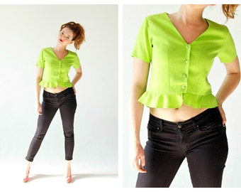 Neon Lime Green Peplum Top- Button Up 90s Vintage Cute Club Kid Retro Pinup Jacket. Space age Goth Rockabilly