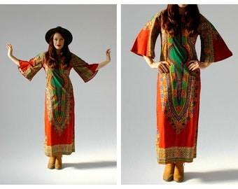 70s Bell Sleeve Batik Caftan- Boho Maxi Dress, Hippie Woodstock Hipster Bohemian Long Dress, Ethnic Pattern Bright Optic, Dashiki