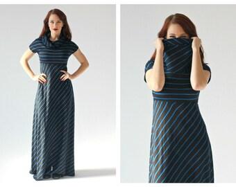 70s Sparkle Blue Stripe Maxi Dress- M, Stretch, Wendy Original, Turtleneck Short Sleeve Boho Disco Dress LOT 2