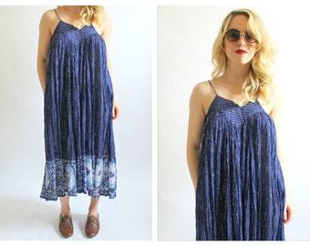 60s Gauzy Indian Cotton Sparkle Tank Dress- Hippie, Boho, S/M, Tent Dress, Navy, Blue, Breezy Janis Joplin Style