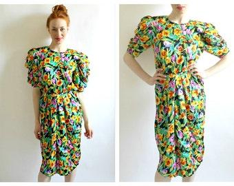 80s Tropical Silk Dress- M, 8, Big Shoulders, Day Casual, Carmen Miranda Tiki Pinup 80s does 50s Summer Wedding