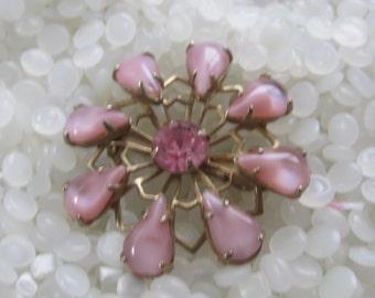 Vintage rhinestone brooch, Snowflake MAYBE, pink rhinestones, pink stones