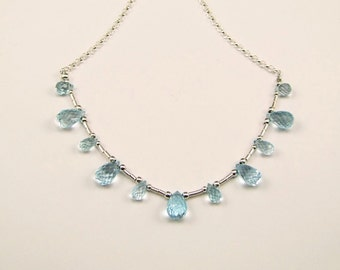 Blue Topaz on Sterling Silver Necklace - N853