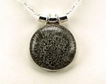 Rare Stingray Coral Sterling Silver Pendant - N854