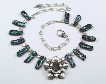 Stunning Silver Flower Necklace with Biwa Pearls - N345
