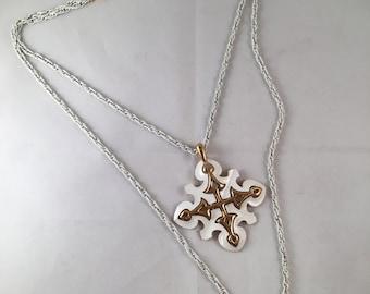 Vintage Rapallo White Chain Necklace and Pendant