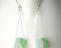 GENUINE Sea Glass Earrings, Sea Foam And Aqua Blue Earrings, Sterling Silver Seaglass Earrings, Beach Glass Earrings, Beach Earrings