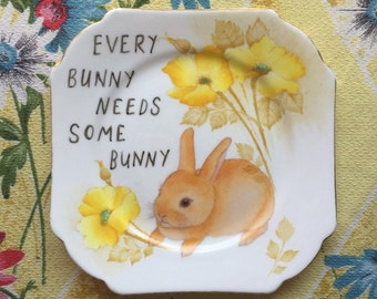 Every bunny Needs Some Bunny Vintage Illustrated Plate