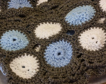 Lots of Circles Scarf Light Blue White and Gray Extra Long Crochet knit Scarf