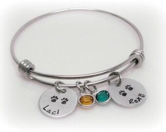Custom Pet Name Bangle Personalized Pet Names Cat Bracelet Dog Bracelet Cat Jewelry Personalized Dog Jewelry Hand Stamped Pet Name Jewelry