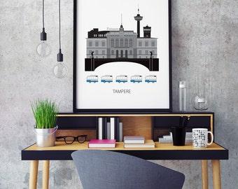 Tampere, Finland, city, Art print, Scandinavian design, modern poster