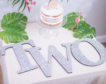 TWO Sign Second Birthday Sign in Glitter - Wooden TWO Letters 2nd Birthday Princess Birthday Decor in Glitter One Letters ( Item - LTW100 )