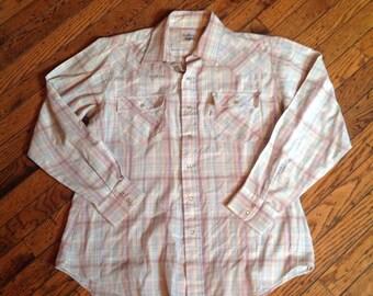 Vintage Levi's Levi Strauss Plaid Shirt Pearl Buttons Sz L