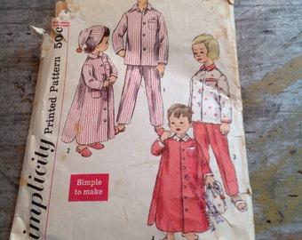 Vintage Simplicity Sewing Pattern 2288 Child's Size 4 Pajamas