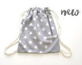 grey stars drawstring backpack. stars. cyber monday. free shipping. gym bag
