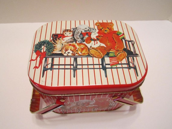 Marshall Fields Christmas Tin - Basket Style Vintage Tin - Stuffed Animal Design by Schmid and  Fraser 1984 Red White Stripe = Made in USA