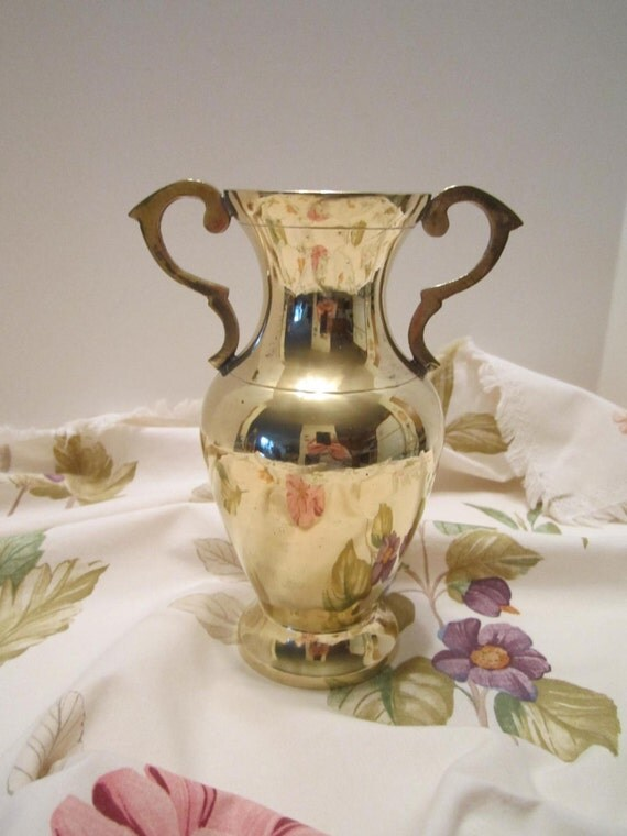 Solid Brass Urn Style Vase with Handles - Made in India - Newly Polished