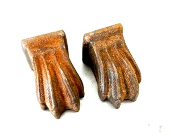 vintage iron claw foot pulls/knobs set of 2