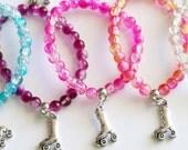 Roller Skate Party Favors 10 Stretchy Bracelets, Girl Bracelet, Roller Skate Favor, Girl Gift, Clear Crystal Balls Assorted