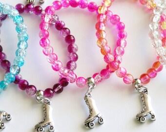 Roller Skate Party Favors 10 + Stretchy Bracelets, Girl Bracelet, Roller Skate Favor, Girl Gift, Clear Crystal Balls Assorted