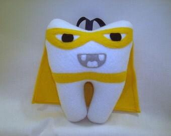 "Superhero Tooth Fairy Pillow - 6"" Mini Tooth Pillow Superhero - Tooth Shaped Tooth Pillow"