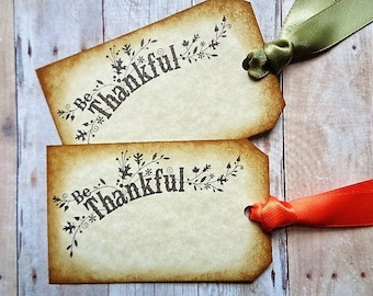 Thanksgiving Tag Place Cards Rustic Autumn Hostess Gift Tags Be Thankful Seating Card