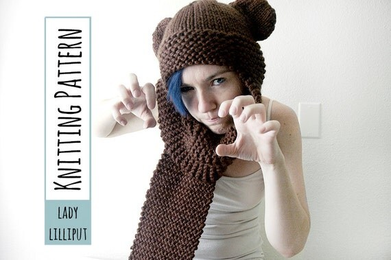 PATTERN - Knitted Bear Scarf-Hat/Scoodie