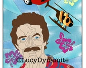 Adult Coloring Page - Colouring Page - Tom Selleck - Magnum PI - water - hawaii - flowers- Soothing Colouring Page