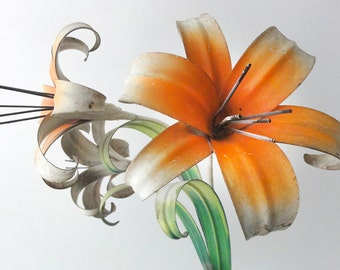 Vintage Wall Sconce Toleware Orange Lily Floral Lighting