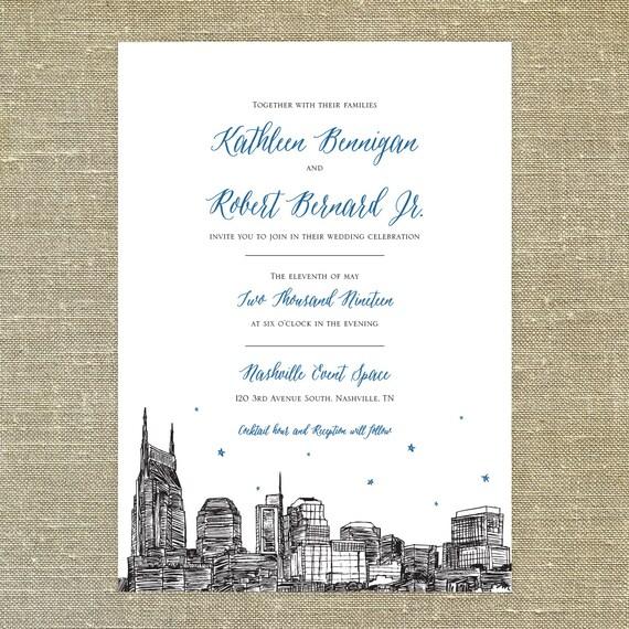 Like this item Nashville Skyline Wedding invitation SAMPLE ONLY Nashville. Nashville Wedding Invitations. Home Design Ideas